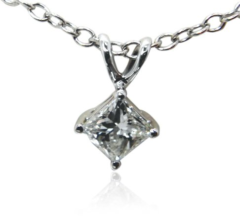 IGI-Certified-14k-White-Gold-Princess-Cut-Diamond-Pendant-Necklace-075-cttw-H-I-Color-I1-Clarity-18