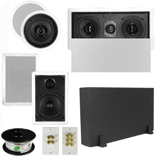 "Theater Solutions 5.1 Home Audio Speakers 4 Speakers, 1 Center, 8"" Powered Sub And More Ts50Cwl51Set1"