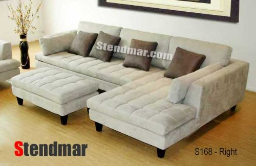 Charmant 3pc New Modern Gray Microfiber Sectional Sofa S168RG