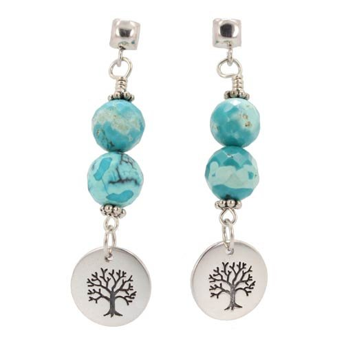Round Tree of Life Dangle Earrings in Sterling Silver with Faceted Turquoise Gemstone Beads on a Sterling Silver Post, #7458