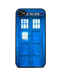 Insomniac Arts - Blue Police Call Box - iPhone 4 or 4s Cover, Cell Phone Case - Black