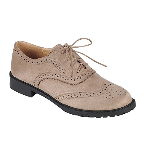 FOREVER GD61 Women's Lace Up Low Chunky Heel Casual Oxford Shoes, Color:TAUPE, Size:8.5