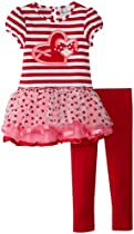 Rare Editions Girls 2-6X Heart Applique Tutu Legging Set, Red/White/Fuchsia, 2T
