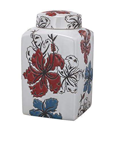 "David Tutera 8.25"" Square Lidded Jar, Blue/White/Red"