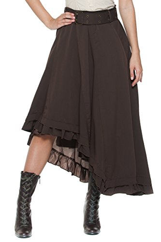Womens-Plus-Belt-Steampunk-Victorian-Inspired-Ruffle-Asymmetric-Petticoat-Skirt