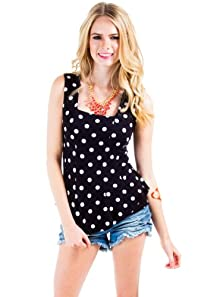 Retro Polka Dot Top in Black