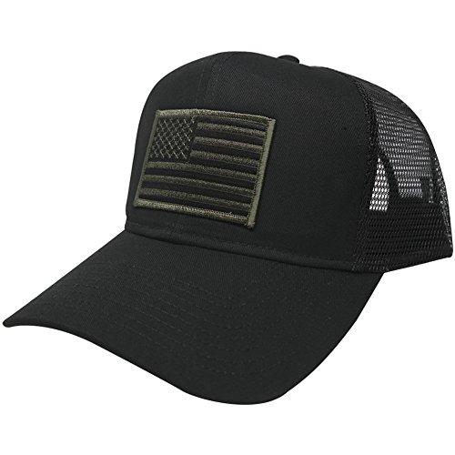 USA American Flag Patch Snapback Trucker Mesh Cap - Black 20b1aee30e7