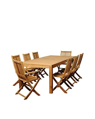 Amazonia Teak New Jersey 9-Piece Rectangular Dining Set, Brown