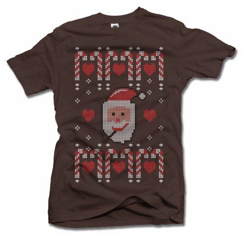 Men'S Ugly Santa Pipe 3X Brown Funny Christmas Sweater T Shirt