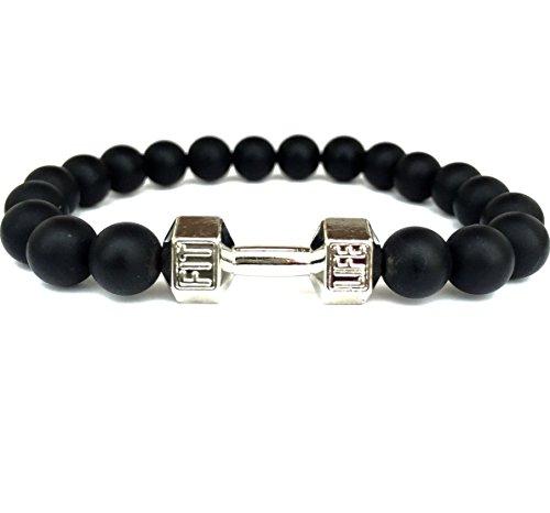 GOOD.designs Bracciale in vera nero Naturale-pietre Onice, Manubri-ciondolo, gym- bodybuilding- fitness- motivazione- braccialetti