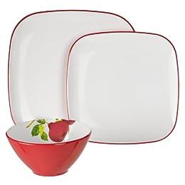 Whim by Cynthia Rowley Melamine 12-pc. Dinnerware Set - Red/ White