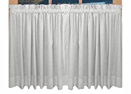 Kerry Tailored Tiers Curtains Pair 80-Inch-by-36-Inch, White