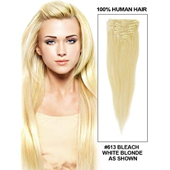 Fohair 24 Inch Silky Straight Clip in/on India Remy Human Hair Extensions Full Head Volume Set 9 Pieces #613 Bleach Blonde coupons 2015