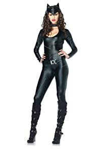 Leg Avenue Women's 3 Piece Frisky Feline Catsuit With Tail And Ears, Black, Medium