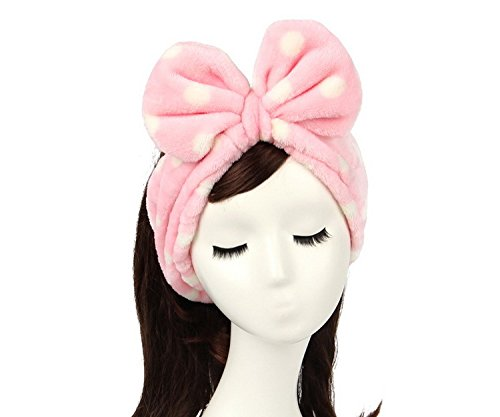 G2Plus® Sweet Super Soft Fluffy Hair Pink Polka Dots Hairlace Wash Cosmetic Headband Makeup Headband Snood