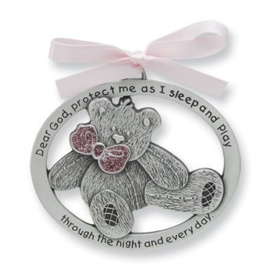 "Pretty TEDDY BEAR Crib Medal for Baby GIRL Crib Medal with Verse 4"" PEWTER Finish - CHRISTENING/SHOWER GIFT/Baptism KEEPSAKE/with PINK RIBBON - INFANT - Newborn"