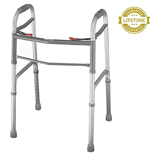 Folding-Walker-By-Vive-Elderly-Walker-Is-Adjustable-Portable-Perfect-Walking-Aid-That-Easily-Opens-and-Closes-With-Push-Button-Walker-Supports-Up-To-250-lbs-Lifetime-Guarantee