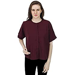Women's Maroon Shirt, Short Sleeves, Trendy/Styish/Smart/Casual Top/Shirt Wear for Women And Girls