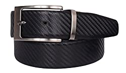 VISACH Men's Leather Rope Print Pin Buckle Belt Black and Brown (34)