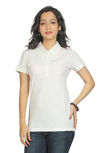 Aliep Aliep Off White Cotton Solid Polo Neck Tshirt For Women | AL1048OWHT (Multicolor)