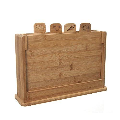 4 planches à découper avec support - En bambou
