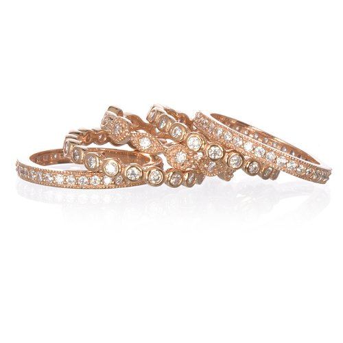 5 Eternity Band Set Ring in Rose Gold Plate