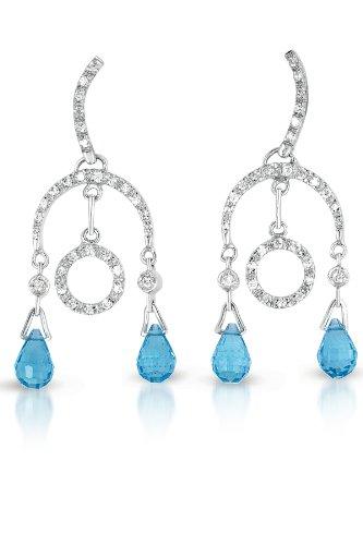 Blue Topaz C.Z. Briolette Sterling Silver Circular Drop Earrings