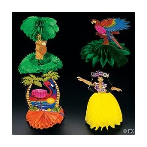 Click to buy 12 Cardboard and Tissue Mini Tropical Luau Party Decorationsfrom Amazon!