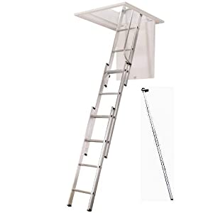 NEW 3 Sections 3.12m Aluminium Triple 150 kg Capacity Loft Ladder slide Extension Ladder with free handrail