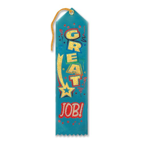 "Great Job! Award Ribbon 2"" x 8"" Party Accessory - 1"