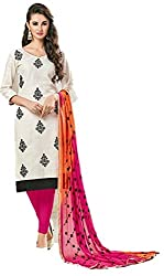 Riya Fashions Women's Cotton Unstitched Dress Material (R2004_Multicolor_Free Size)
