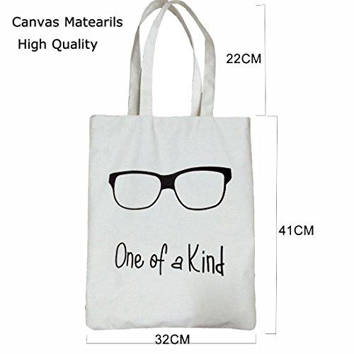 [해외]Crosstree 음악 가방, 캔버스 소재 만화 안경 이미지 음악 핸드백 어깨 가방 토트 쇼핑 가방 선물 (종류 중 하나)/Crosstree Music Bag, Canvas Material Cartoon Glasses