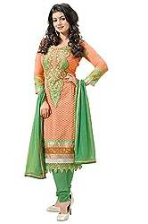 Blissta Women's Faux Georgette Dress Material (KTARZAN05_Orange)