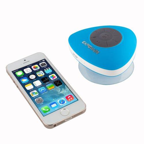 Expower(R)スピーカー 防水お風呂  ポータブル ワイヤレス ハンズフリー 通話iPhone スマートフォン  iPad samsungなど対応 新作品スピーカー (ブルー)