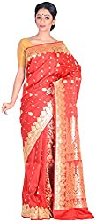 Sree Howrah Stores Women's Silk Saree with Blouse Piece (Red)
