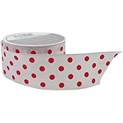 The Gift Wrap Company Sophisticated Spots 1.5-Inch Wired Edge Ribbon, White and Red (18984-14)