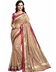 Vipul Minakari Silk Brown Traditional Print Saree With Exclusive Foil Print