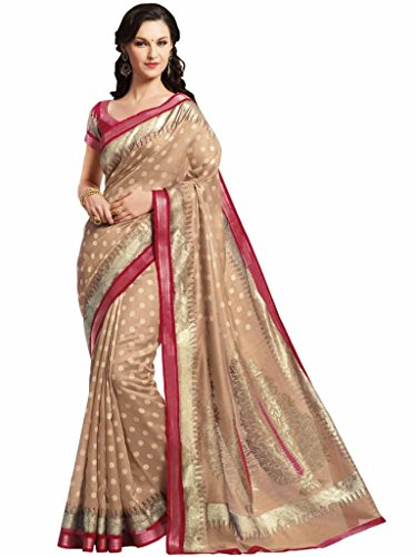 Vipul Minakari Silk Brown Traditional Print Saree With Exclusive Foil Print