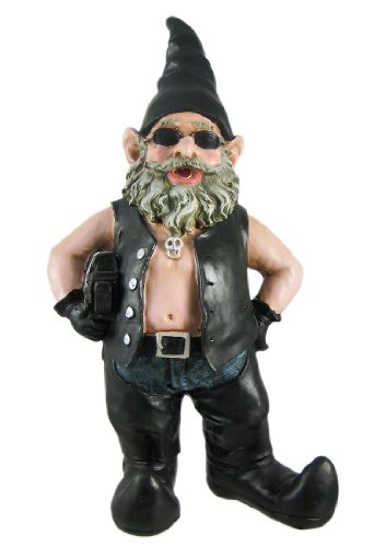 Gnoschitt Biker Garden Gnome Statue Motorcycle Leather 15 Inch Figure