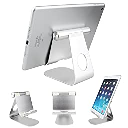 iPad Stand, Dealpeak Universal Aluminum Multi Angle Anti-Slip Phone Stand for All Samsung Galaxy Tablets ,All iPads Mini Retina 2/3/iPad Air/iPad Air 2/iPhone 6/6plus/5s/5 and Amazon Kindle Fire