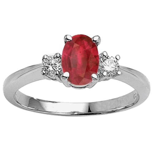 Genuine Oval Ruby and Diamond Engagement Ring - 14kt White or Yellow Gold
