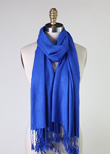 Anika Dali Solid Color Soft Premium Pashmina Women'S Shawl (Cobalt Blue)
