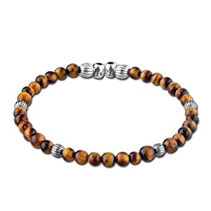 Bead Divine Sterling Silver Tiger Eye Cuff Bracelet by Relios