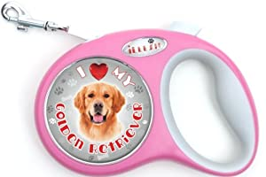 iLeesh i Love My Golden Retriever Retractable Pink Leash