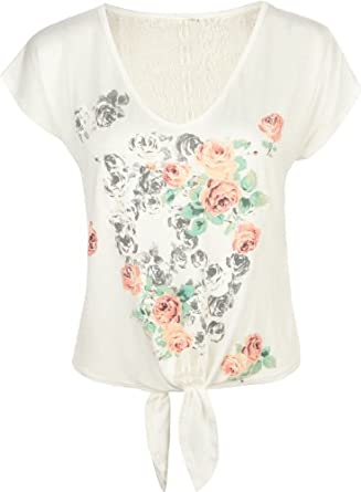 Amazon.com: FULL TILT Skull Womens Tie Front Lace Back Tee: Clothing