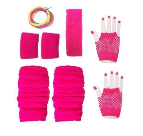Adults Neon Pink Gloves, Sweatbands, Headband, Leg Warmers, Bangles