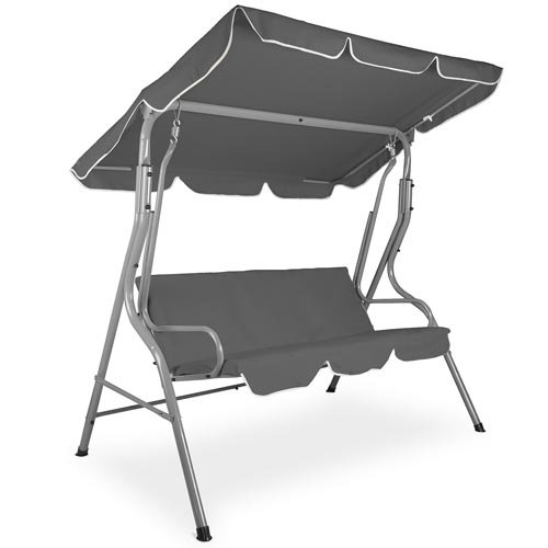 Garden Swing Chair GSB03-2 Hammock Seat Canopy for 3 Persons Steel frame, Grey