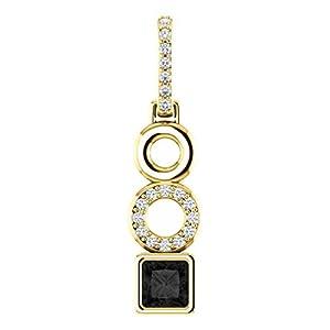 10K Yellow Gold Princess Cut Black Diamond Pendant - 1.1 Ct.
