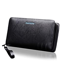 Teemzone Mens Business Stylish Urban Genuine Leather Organizer Clutch Handbag Coin Wallet (S3350 Black)