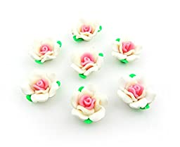 Polymer Clay Rose Flowers with Green Leaves 150Pcs Mixed Handmade Fimo Jewelry Beads Findings Decoration 25mm